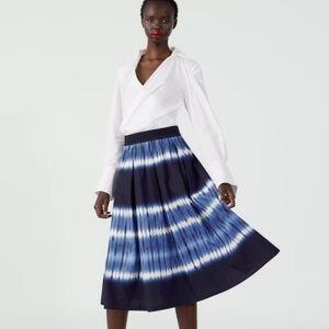NWT Zara  blue tie dye skirt